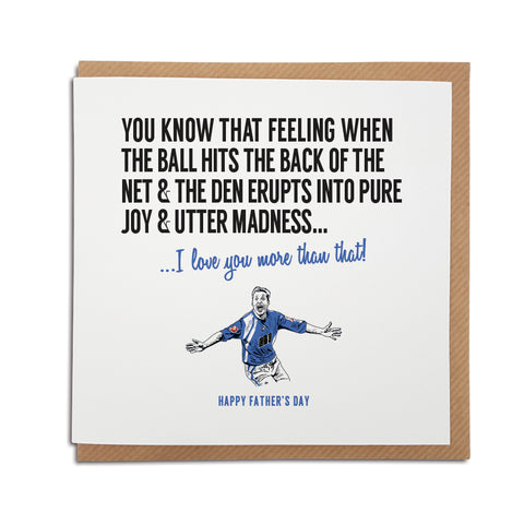 Millwall Football Club Father's Day Card. A unique handmade card, perfect for any Lions supporters.