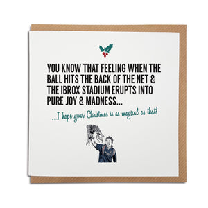 A handmade Rangers Football Club Christmas Card. A unique card, perfect for any gers supporters. Card reads: You know that feeling when the ball hits the back of the net & the Ibrox Stadium erupts into pure joy & madness... I hope your Christmas is as magical as that!