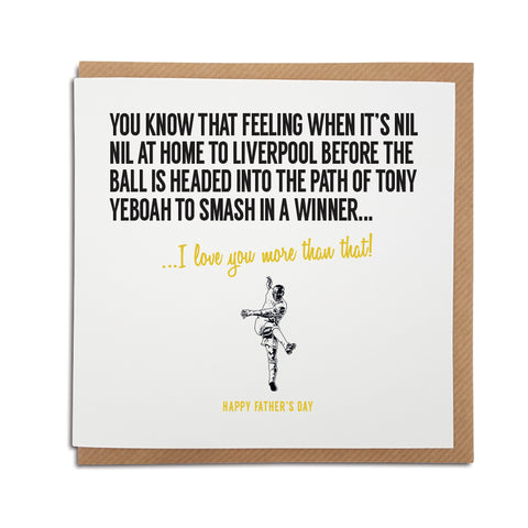 Leeds United football club greetings, birthday, anniversary card for Whites fans featuring illustration of Tony Yeboah