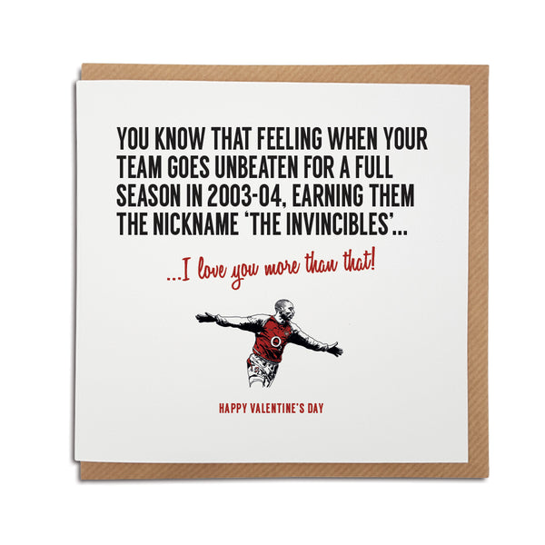 Arsenal football club Valentine's Day card for Gunners fans featuring illustration of Thierry Henry