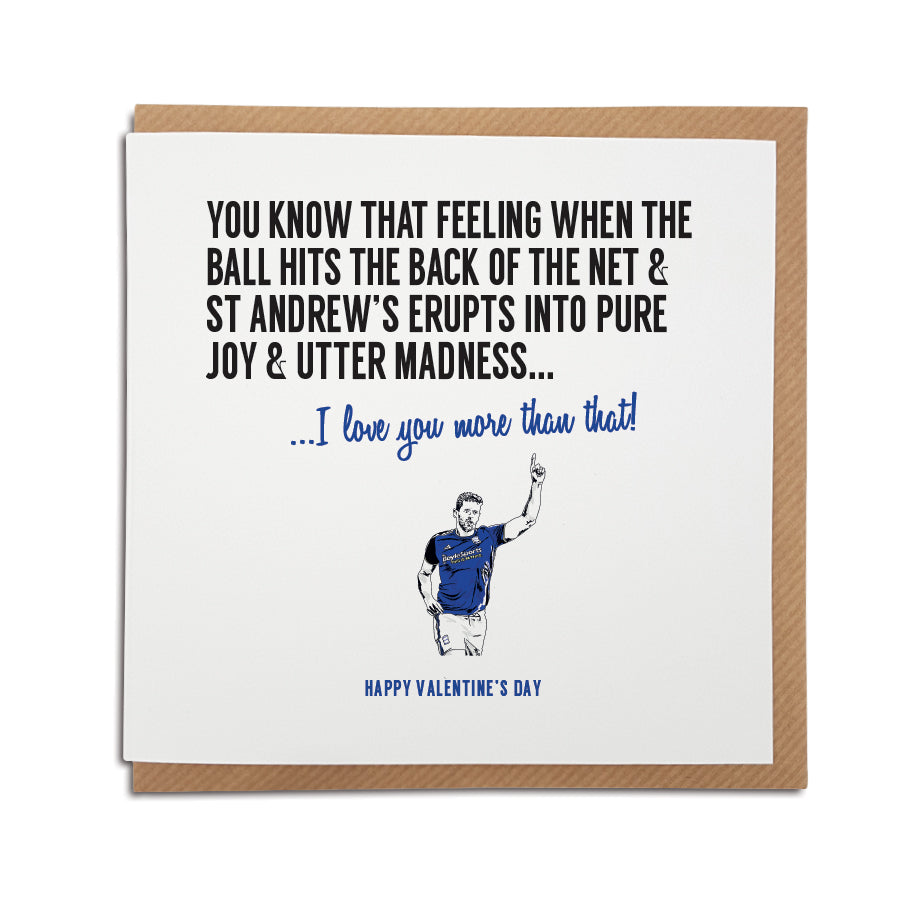 Birmingham City football club Valentine's Day Card. A unique handmade card, perfect for Birmingham City supporter