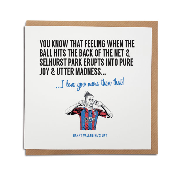 Crystal Palace Football Club Valentine's Day Card. A unique handmade card, perfect for an Eagles supporter