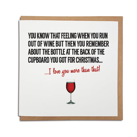 Funny  birthday, anniversary, greetings card for wine lovers