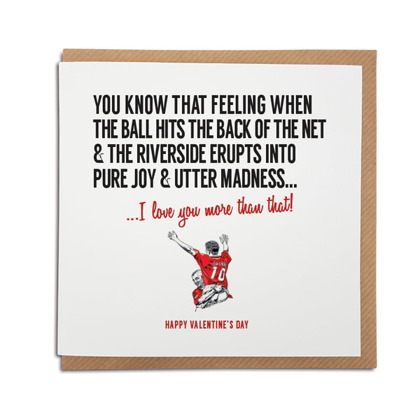Middlesbrough Football Club Valentine's Day Card. A unique handmade card, perfect for any Boro supporters.