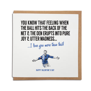 Millwall Football Club Valentine's Day Card. A unique handmade card, perfect for any Lions supporters.