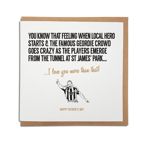 Newcastle United football club Father's Day card for Toon fans. Card features and illustration of club record goalscorer alan shearer