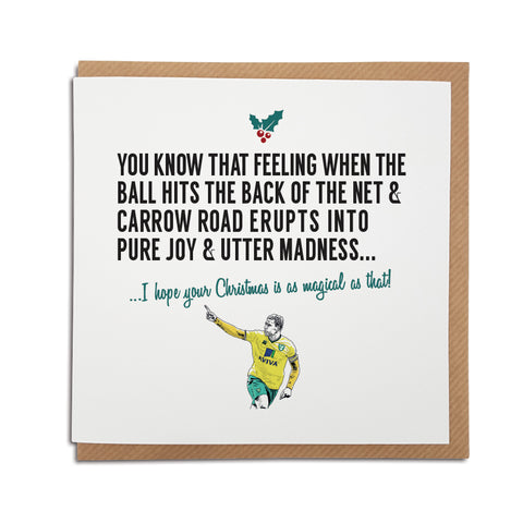 A handmade Norwich Football Club Christmas Card. A unique card, perfect for any Canaries supporters.  Greetings card is printed on high quality card stock.   Card reads: You know that feeling when the ball hits the back of the net & Carrow Road erupts into pure joy & utter madness... I hope your Christmas is as magical as that! (featuring an illustration of club legend Grant Holt).