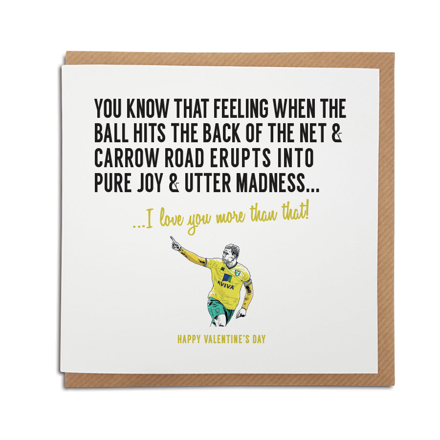 Norwich football club Valentine's Day card for Canaries fans.