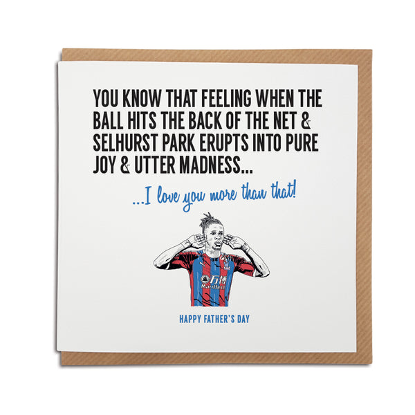 Crystal Palace football club greetings, birthday, anniversary card for Eagles fans featuring illustration of wilfried zaha
