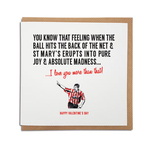 Southampton Football Club Valentine's Day Card. A unique handmade card, perfect for any Saints supporter. (featuring an illustration of club legend Matt Le Tissier).