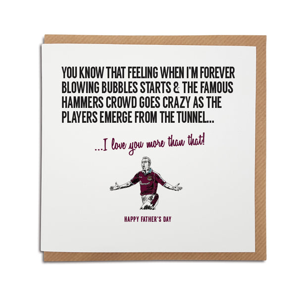 West Ham Football Club Father's Day Card. A unique handmade card, perfect for any Hammers supporter