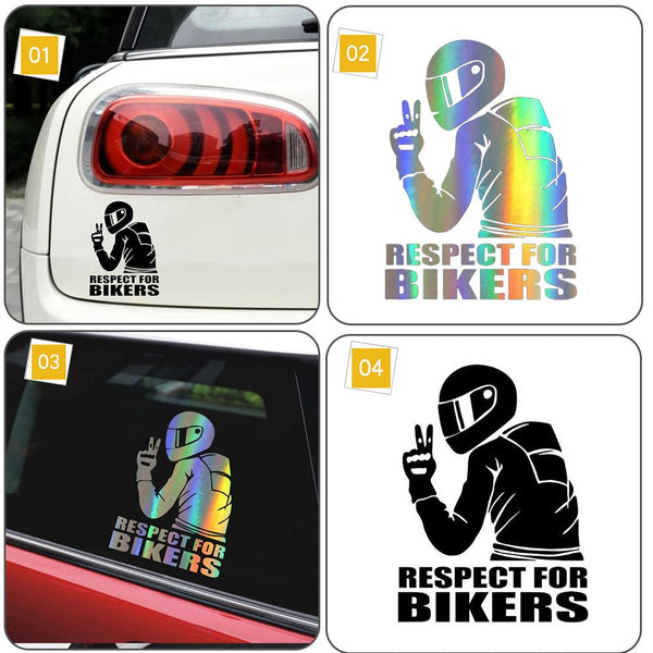 15x11CM Funny Car Stickers Respect Biker Sticker For Bikers Sticker On Car Motorcycle Vinyl 3D Stickers And Decals
