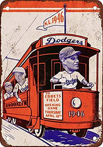 1946 Brooklyn Dodgers Vintage Look Reproduction Metal Tin Sign 8X12 Inches
