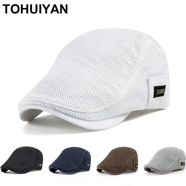 2020 New Summer Mens Hats Breathable Mesh Newsboy Caps Outdoor Gorro Hombre Boina Golf Hat Fashion Solid Flat Cap For Women