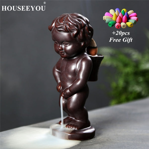 20Pcs Incense Cones + Ceramic Boy Piss Backflow Incense Burners Home Decor Waterfall Decorative Incense Holder Zen Aroma Censer