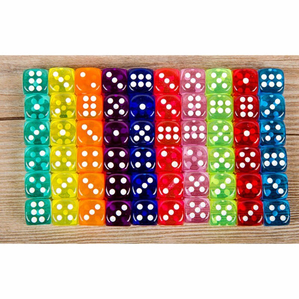 30PCS 6 Sided Portable Table Games Dice 14MM Acrylic Round Corner Board Game Dice Party Gambling Game Cubes Digital Dices