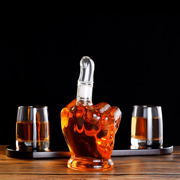 6PCS Gift Set Glass Bottle Crystal Creative Finger Shape Water Bottle Wine Glass Cup for Vodka Whiskey Drink Glasses Wedding