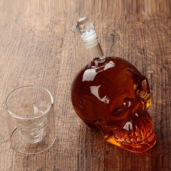 7Pcs/Set Transparent Skull Bottle Glasss Cup Set 700ml Crystal Glass Decanter With 75ml Head Shot Glasses Cups For Wine Whiskey