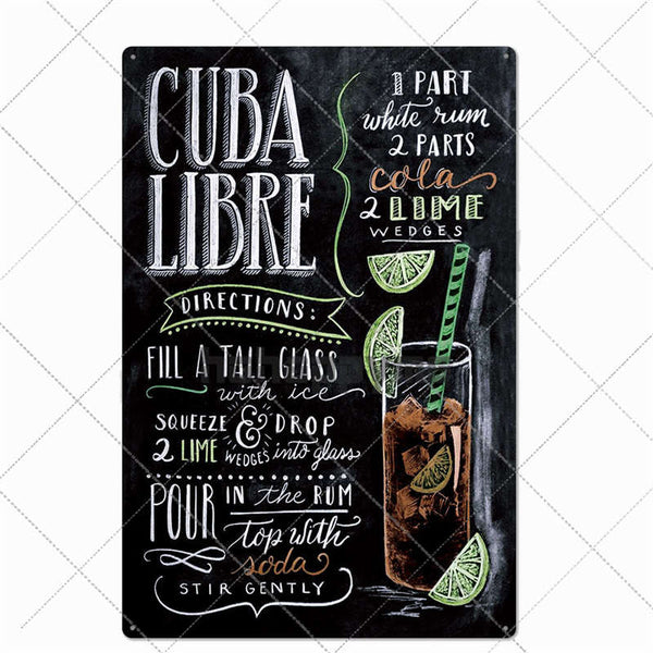 Classic Mojito Cuba Cocktail Metal Signs Vintage Plates Cafe Pub Club Home Wall Decorative Retro Plaque Home Decor 20*30cm