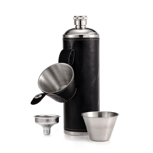 GENNISSY Pocket Hip Flask 10 OZ with Free Funnel + 2 Stainless Steel Cups with Leather Wrapped Cover and 100% Leak Proof Flasks