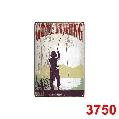 Gone Fishing Vintage Metal Tin Signs Bar Pub Home Decor Animal Wall Decoration Iron Painting Fish Retro Plaque Art Poster