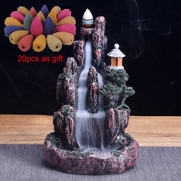 High Mountain Waterfall Backflow Incense Burner LED Glowing Ball And 20Pcs Incense Cones Home Incense Holder