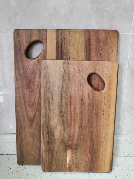 High quality Acacia Wood Cutting Board ,Practical double-sided wooden cutting board, regular Bread Board with Oval handle