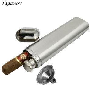 Hip Flask for Alcohol Whiskey 2 oz 304 Stainless Steel Flask Frosted with a Cigar Tube Funnel Outdoor Drinkware Pipe bottle Gift
