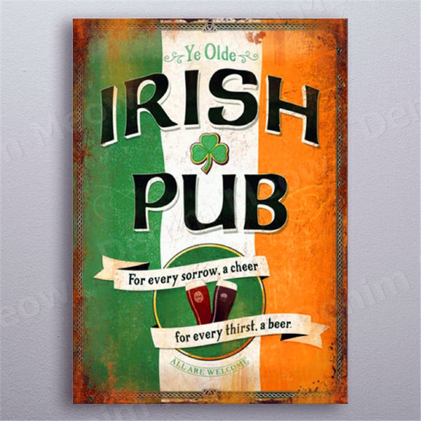 Irish Pub Plaque Beer Vintage Metal Tin Signs Bar Club Cafe Home Decor Man Cave Wall Art Poster Italian Wine Metal Painting N363