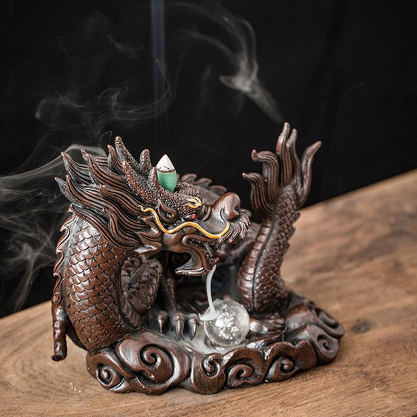 LED Dragon Backflow Incense Burner Resin Smoke Waterfall Incense Holder Censer with 20Pcs Incense Cones Home Decoration Craft
