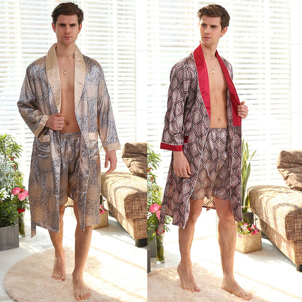 Men's Silk Nightgown Shorts Two-Piece Set Summer Thin Long-Sleeve Pajamas Men's XL Bathrobe bath robe  long sleeve nightgown