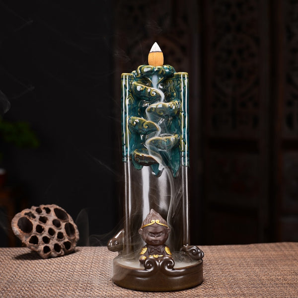 Monkey King Smoke Waterfall Censer Smoke Waterfall Ceramic Backflow Incense Burner Holder Creative Home Decor Gift Ornaments