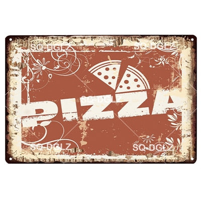PIZZA Plaque Tin Sign Metal Sign Vintage Bar Decoration Italian Home Decor Wall Sticker Pub Painting Restaurant Poster Gift
