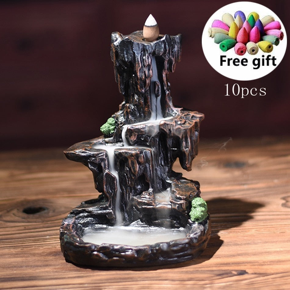 Resin Mountain Shape Smoke Waterfall Backflow Incense Burner Censer Holder Decor Aromatherapy Furnace Aromatic Home Office Craft