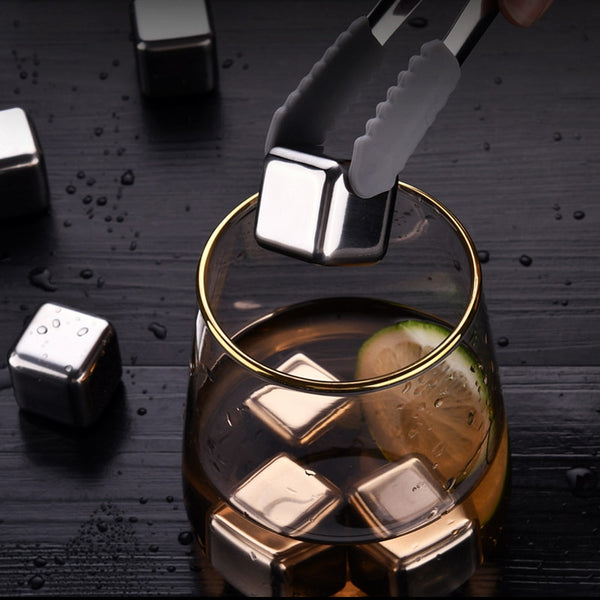 SSGP Wine Whiskey Stones Chiller Ice Stone 304 Stainless Steel Ice Cubes Reusable metal Beer Cooler For Vodka Champagne Wort Bar