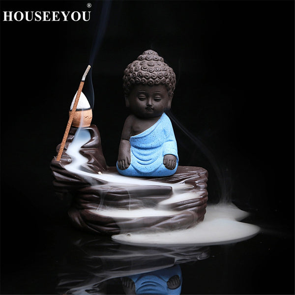 The Lovely Little Monk and Small Buddha Backflow Incense Burner Aroma Censer Furnace for The Home Office Teahouse Zen Home Decor