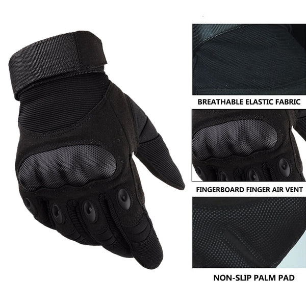 Touchscreen Motorcycle Gloves Artificial Leather Hard Knuckle Full Finger Protective Gear Racing Biker Riding Moto Motocross