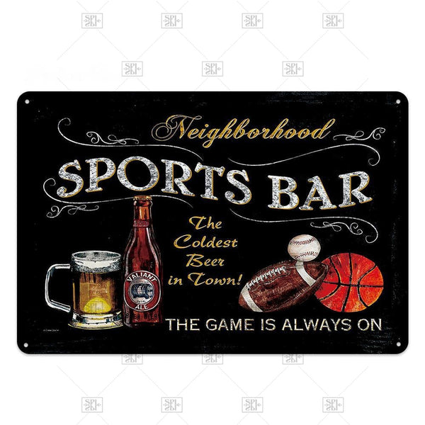 Vintage Sports Bar Beer Zone Retro Bar Metal Sign Plaque Retro Bar Tin Sign Metal Plate Wall Art Deco Club Decoration Plate