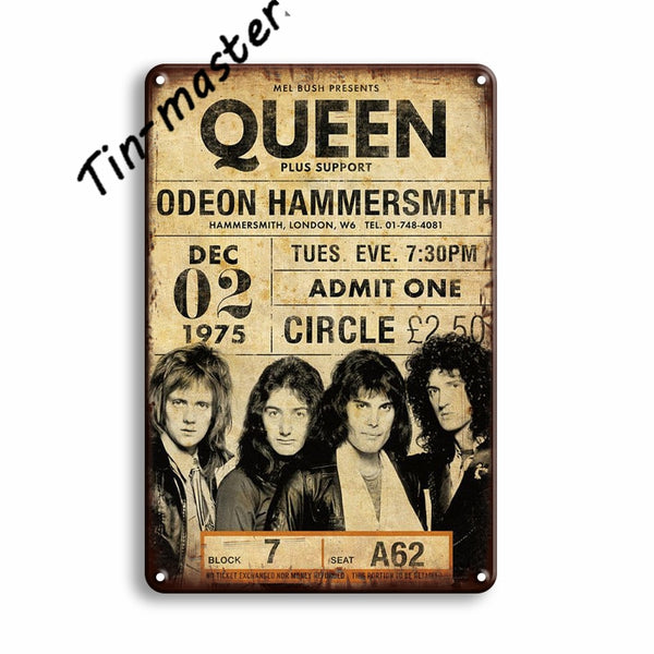 Vintage Wall Stickers Metal Tin Sign Sweet Home Decor Film Star Metal Poster QUEEN Metal Painting Retro Rock Sign Pub Bar Decor