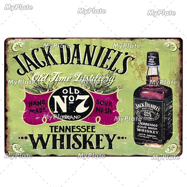 Whiskey Vintage Metal Signs Beer Tin Sign Plaque Metal Plate Wall Decor For Pub Club Man Cave Plate Jack Poster Bar Decoration