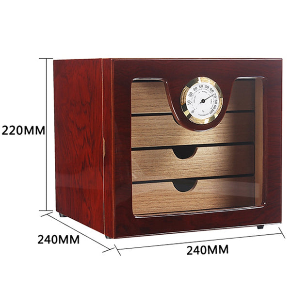 Wood Humidor Cigar Box Cabinet Portable Cigar Case Hygrometer Cigar Humidor Box for Travel Capacity about 75 Cigars
