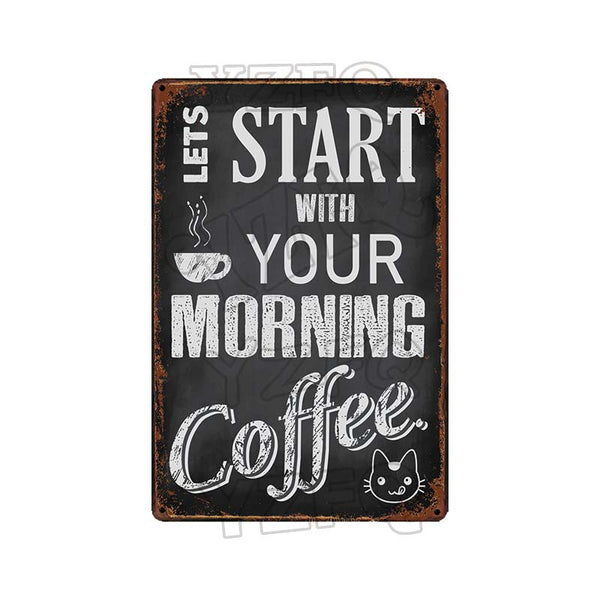 【YZFQ】Coffee Tin sign Food Decorative Plaque Metal Vintage Wall Bar Home Art kitchen Shop Decor 30X20CM TP-448A