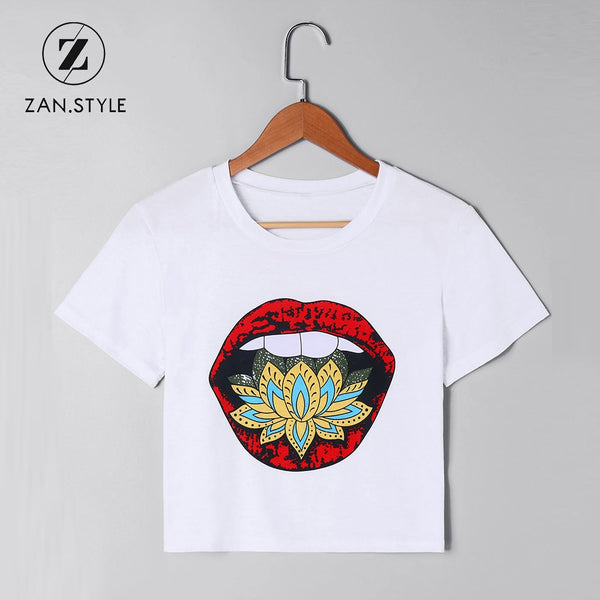 Mouth Print Flower Cropped T-Shirt