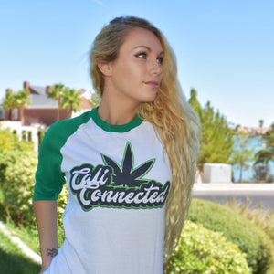 CaliConnected weed leaf baseball shirt - links to Kush Clothing collection at CaliConnected, the best online headshop