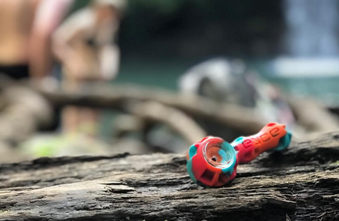 Eyce Molds Silicone Spoon Glass Hand Pipe - Indestructible platinum cured silicone hand pipe with borosilicate glass bowl and built in smoking tools by Eyce Molds at CaliConnected Online Headshop