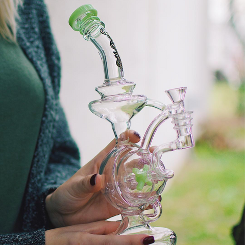 Sesh Supply Prometheus Hemisphere Recycler with spinning Kinetic Windmill percolator - Thick, Scientific Glass Recycler Bong with windmill inverted Propeller Perc that spins from Sesh Supply at CaliConnected Online Headshop