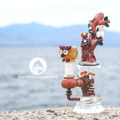 Empire Glassworks Hootie and Friends Mini Rig Water Pipe - Handcrafted Owl Themed Bong at CaliConnected Online Headshop