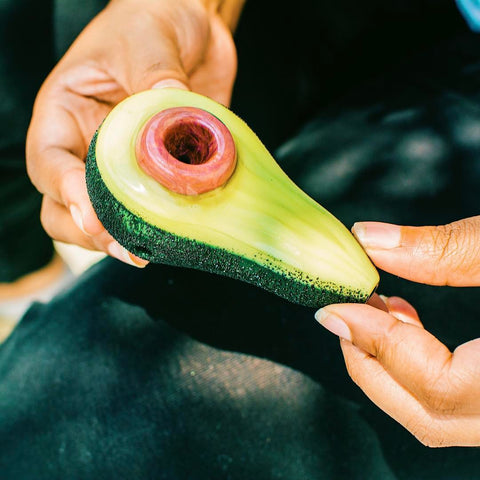 Empire Glassworks Avocadope Glass Spoon Hand Pipe - realistic Avocado themed glass spoon bowl hand pipe from Empire Glassworks at CaliConnected Online Headshop