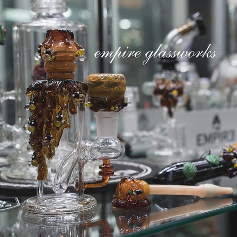 "Empire Glassworks Beehive Nano Rig Water pipe with Honeycomb Bowl - 6"" inch Honey Bee themed Bong at CaliConnected Online Headshop"