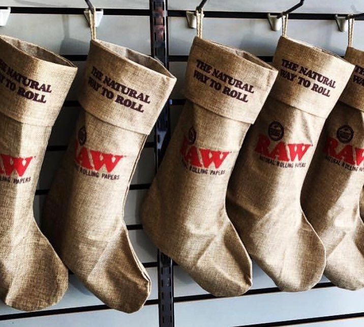 Raw Burlap Holiday Christmas Stockings